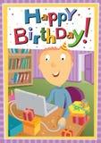 el hombre joven en la oficina celebra cumpleaños Imagenes de archivo