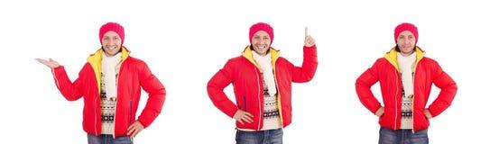 El hombre joven en la ropa del invierno aislada en blanco imágenes de archivo libres de regalías