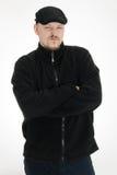 Hombre enojado con el sombrero negro Fotos de archivo libres de regalías