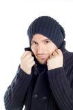 El hombre joven hermoso se vistió en azul Fotografía de archivo libre de regalías