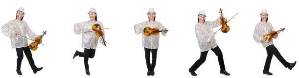 El hombre joven que toca el viol?n aislado en blanco imagenes de archivo