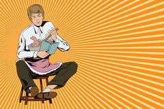 El hombre joven revuelve la pasta para las galletas ilustración del vector