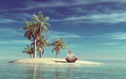 El hombre joven se relaja en una pequeña isla tropical foto de archivo