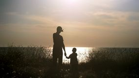 El hombre joven toma la mano de un niño pequeño en la playa en la puesta del sol padre de la silueta y su hijo que miran el paisa