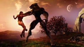 El hombre lobo captura a la mujer stock de ilustración