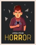 El hombre loco destaca su cara con la linterna Persona en la oscuridad Ilustración del vector de la historieta libre illustration