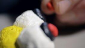El hombre macro pone pequeños pedazos rojos de la pasta del juego en ojos divertidos de la abeja almacen de video