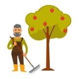 El hombre mayor con el rastrillo se coloca al lado de manzano stock de ilustración
