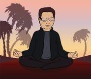 El hombre medita en la naturaleza Ilustración del vector Fotos de archivo libres de regalías
