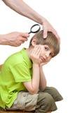 El hombre mira liendres la cabeza del muchacho Imagen de archivo libre de regalías