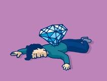 El hombre muerto apuñaló con el diamante asesinado para el dinero libre illustration
