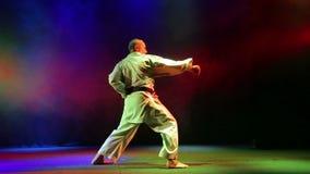 El hombre muestra la técnica del karate en un fondo con humo coloreado almacen de metraje de vídeo