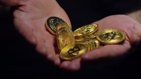 El hombre muestra las monedas de Digitaces en las palmas abiertas y oculta macro almacen de video