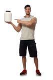 El hombre muscular con la proteína sacude en blanco Imágenes de archivo libres de regalías