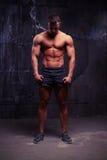 el hombre muscular Desnudo-de pecho, su cada músculo entrenó al perfectio Imagen de archivo libre de regalías