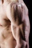 El hombre muscular que presenta en estudio oscuro foto de archivo