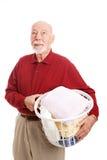 El hombre odia el lavadero Foto de archivo libre de regalías