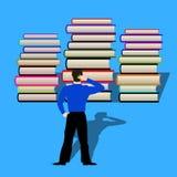 El hombre pensó cómo leer los libros delante de él Estilo plano ilustración del vector
