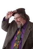El hombre pesado del conjunto ríe e inclina el casquillo Imágenes de archivo libres de regalías