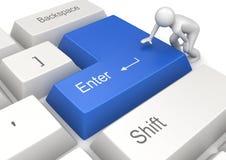 El hombre que presiona el azul INCORPORA clave Imagen de archivo libre de regalías