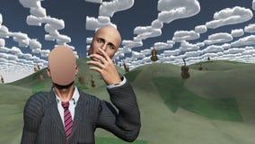 El hombre quita el espacio en blanco de las demostraciones de la cara Imagenes de archivo