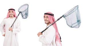 El hombre árabe con la red de cogida aislada en blanco Fotografía de archivo