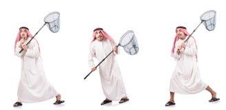 El hombre árabe con la red de cogida aislada en blanco Imagenes de archivo