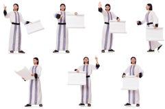 El hombre ?rabe con el Libro Blanco aislado en blanco fotos de archivo libres de regalías