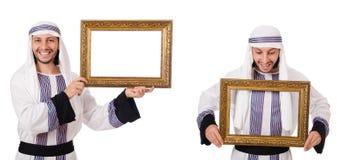 El hombre ?rabe con el marco aislado en blanco foto de archivo libre de regalías
