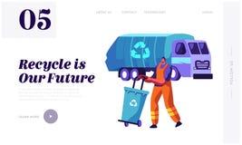 El hombre recoge el envase de basura al camión de los desperdicios con el reciclaje de la muestra Basura de limpieza a acarrear C libre illustration