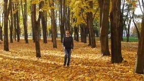 El hombre rizado divertido y graciosamente corre en el lugar en el parque del otoño Caída de la hoja en una ciudad en día soleado almacen de video