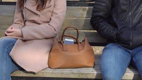 El hombre roba el teléfono de un bolso del ` s de la mujer en el parque almacen de metraje de vídeo