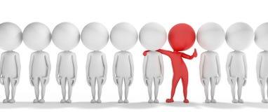 el hombre rojo elegante 3d es diferente de los otros ilustración del vector