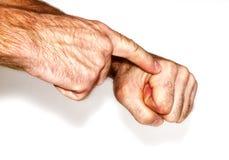 El hombre señala su finger Fotografía de archivo libre de regalías