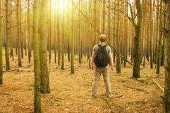 El hombre se coloca en el bosque Imágenes de archivo libres de regalías