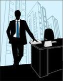 El hombre se coloca en la oficina cerca del vector Imagen de archivo libre de regalías