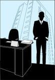 El hombre se coloca en la oficina cerca del vector Imágenes de archivo libres de regalías