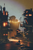 El hombre se coloca en pueblo de la fantasía del barco que visita stock de ilustración