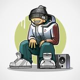 El hombre se sienta en la grabadora Imagenes de archivo