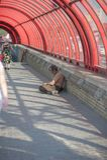 El hombre sin hogar pide las limosnas, gente pasa cerca fotografía de archivo