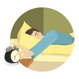 El hombre soñoliento apaga el despertador stock de ilustración