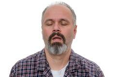El hombre soñoliento con la camisa de la barba y de tela escocesa ronca fotos de archivo libres de regalías