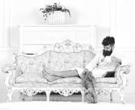 El hombre soñoliento en albornoz bebe el café en hotel de lujo por la mañana, fondo blanco El hombre con la barba y el bigote goz foto de archivo libre de regalías