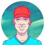 El hombre sonriente con el casquillo rojo en un fondo de la acuarela circunda El ejemplo en estilo de los tebeos Foto de archivo libre de regalías