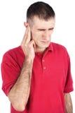El hombre tiene dolor en oído Fotografía de archivo libre de regalías