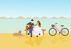 El hombre tocaba la guitarra para que la mujer blanca escuche Hay perros y bicicletas por otra parte ilustración del vector