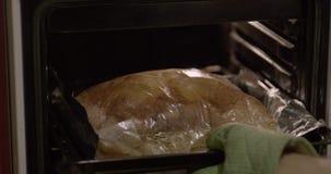 El hombre toma la carne hacia fuera cocinada del primer del horno almacen de metraje de vídeo