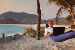 El hombre utiliza el ordenador portátil remotamente Fotografía de archivo libre de regalías