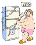 El hombre y el refrigerador gordos Imagen de archivo libre de regalías
