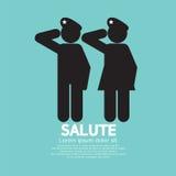El hombre y la mujer dieron el gesto del saludo Imagen de archivo libre de regalías